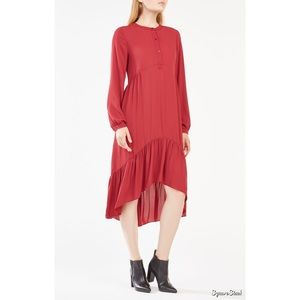 BCBGMaxAzria Natalii Red Midi Peasant Dress